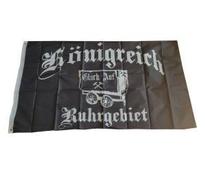 Fahne Königreich Ruhrgebiet mit einer Lore