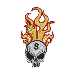 Aufnäher Feuer Skull Rockabilly 8